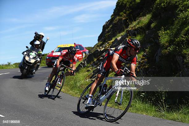Greg Van Avermaet of Belgium and BMC Racing leads Thomas De Gendt of Belgium and Lotto Souda on the decent from the over the Pas de Peyroi on his way...