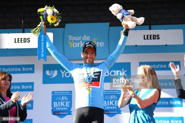 Greg Van Avermaet of Belgium and BMC Racing Team Blue Leader Jersey / Celebration / during the 4th Tour of Yorkshire 2018 Stage 4 a 1895km stage from...