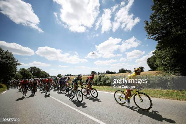 Greg Van Avermaet of Belgium and BMC Racing Team in the yellow race leader jersey rides in the peloton during stage five of the 105th Tour de France...