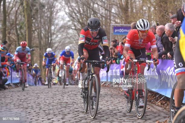 Greg Van Avermaet of Belgium and BMC Racing Team / Jasper Stuyven of Belgium and Team Trek Segafredo / during the 80th Gent-Wevelgem In Flanders...
