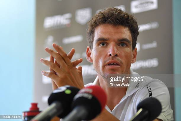 Greg Van Avermaet of Belgium and BMC Racing Team Yellow Leader Jersey / Jim Ochowicz of The United States Team Owner of BMC Racing Team / Press /...