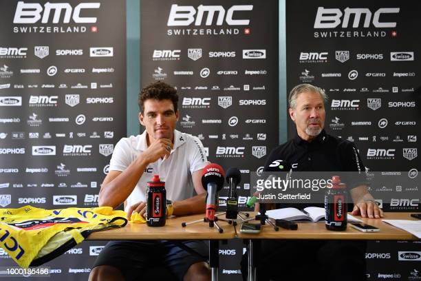 Greg Van Avermaet of Belgium and BMC Racing Team Yellow Leader Jersey / Jim Ochowicz of The United States Team Owner of BMC Racing Team / Press /...