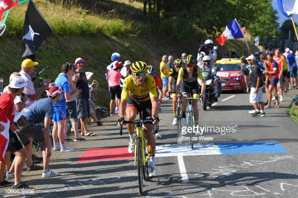 Greg Van Avermaet of Belgium and BMC Racing Team Yellow Leader Jersey / Robert Gesink of The Netherlands and Team LottoNL Jumbo / Fans / Public /...