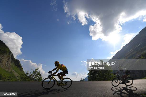 Greg Van Avermaet of Belgium and BMC Racing Team Yellow Leader Jersey / Serge Pauwels of Belgium and Team Dimension Data / Silhouet / Col de La...
