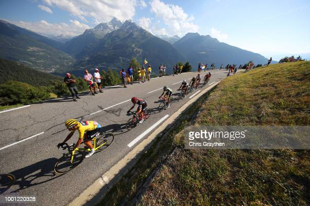 Greg Van Avermaet of Belgium and BMC Racing Team Yellow Leader Jersey / La Rosiere / Landscape / Peloton / Mountains / Snow / during the 105th Tour...