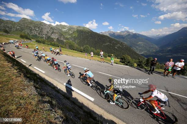 Greg Van Avermaet of Belgium and BMC Racing Team Yellow Leader Jersey / Patrick Bevin of New Zealand and BMC Racing Team / Yoann Offredo of France...