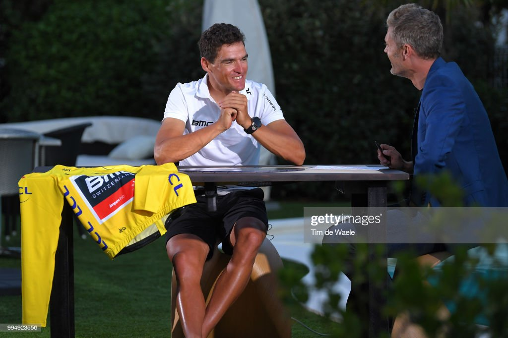 Greg Van Avermaet of Belgium and BMC Racing Team Yellow Leader Jersey / Interview / during the 105th Tour de France 2018, Stage 3 a 35,5km Team time trial stage / TTT / from Cholet to Cholet / TDF / on July 9, 2018 in Cholet, France.