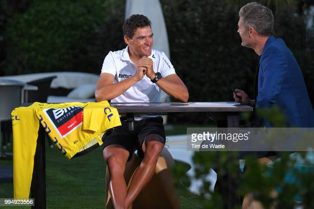 Greg Van Avermaet of Belgium and BMC Racing Team Yellow Leader Jersey / Interview / during the 105th Tour de France 2018 Stage 3 a 355km Team time...