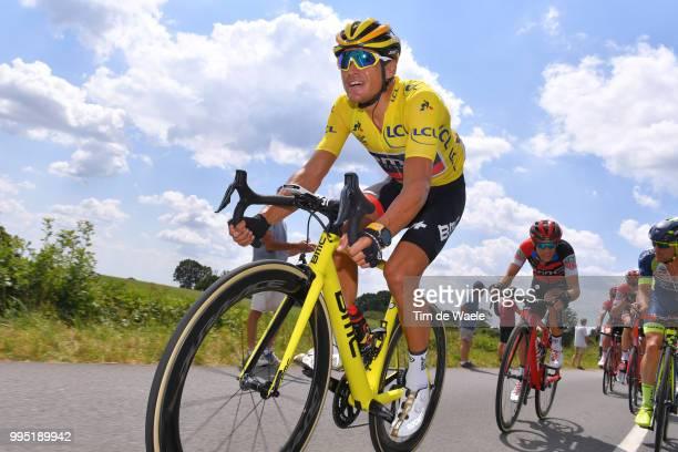 Greg Van Avermaet of Belgium and BMC Racing Team Yellow Leader Jersey / Richie Porte of Australia and BMC Racing Team / during the 105th Tour de...