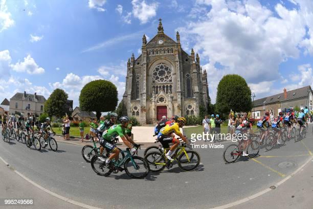 Greg Van Avermaet of Belgium and BMC Racing Team Yellow Leader Jersey / Peter Sagan of Slovakia and Team Bora Hansgrohe Green Sprint Jersey / Vay...