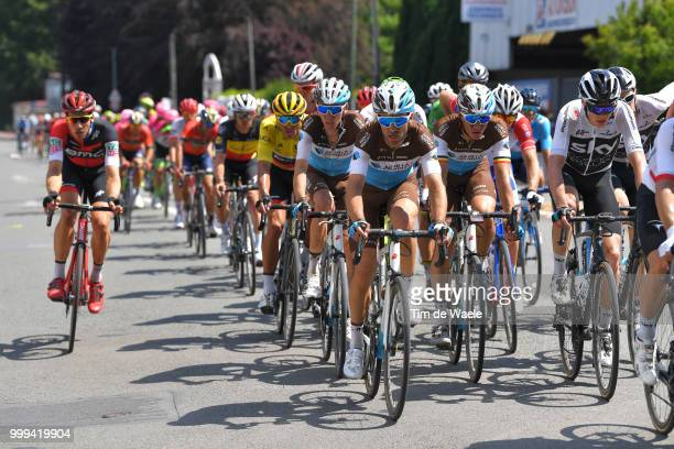 Greg Van Avermaet of Belgium and BMC Racing Team Yellow Leader Jersey / Oliver Naesen of Belgium and Team AG2R La Mondiale / Tony Gallopin of France...