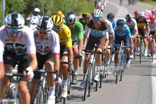 Greg Van Avermaet of Belgium and BMC Racing Team Yellow Leader Jersey / Peter Sagan of Slovakia and Team Bora Hansgrohe Green Sprint Jersey / Romain...