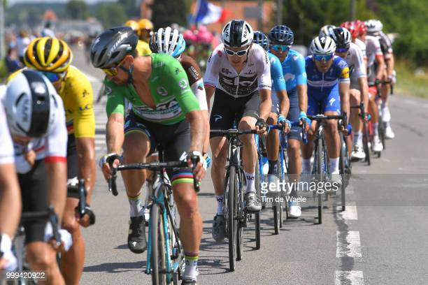 Greg Van Avermaet of Belgium and BMC Racing Team Yellow Leader Jersey / Peter Sagan of Slovakia and Team Bora Hansgrohe Green Sprint Jersey / Geraint...