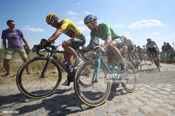 Greg Van Avermaet of Belgium and BMC Racing Team Yellow Leader Jersey / Peter Sagan of Slovakia and Team Bora Hansgrohe Green Sprint Jersey / Cysoing...