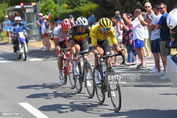 Greg Van Avermaet of Belgium and BMC Racing Team Yellow Leader Jersey / John Degenkolb of Germany and Team Trek Segafredo / Yves Lampaert of Belgium...