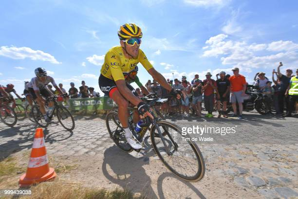 Greg Van Avermaet of Belgium and BMC Racing Team Yellow Leader Jersey /Cobbles / Pave / during the 105th Tour de France 2018 Stage 9 a 1565 stage...