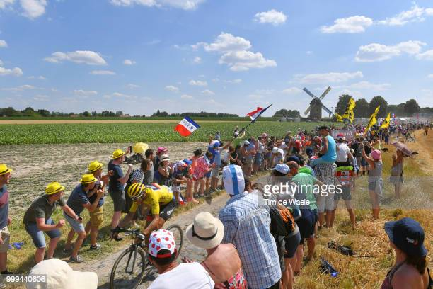 Greg Van Avermaet of Belgium and BMC Racing Team Yellow Leader Jersey / Cobbles / Pave / Fans / Public / Landscape / during the 105th Tour de France...