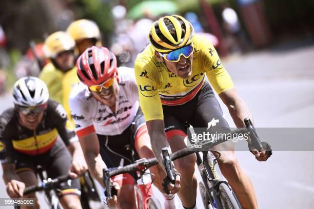 Greg Van Avermaet of Belgium and BMC Racing Team Yellow Leader Jersey / Yves Lampaert of Belgium and Team Quick-Step Floors / John Degenkolb of...