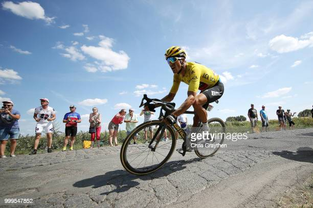 Greg Van Avermaet of Belgium and BMC Racing Team / Yellow Leader Jersey /Willems À Hem Cobbles Sector 1 / Pave / Fans / Public / during the 105th...