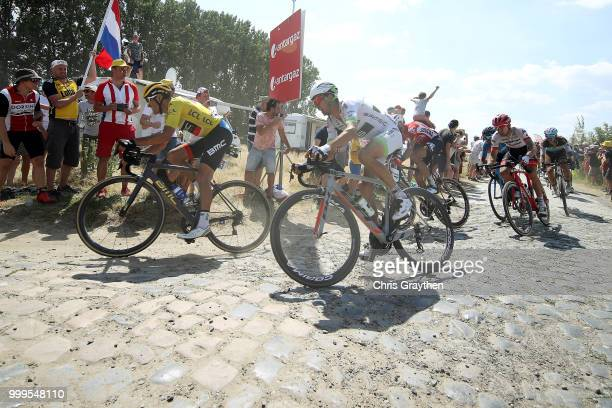 Greg Van Avermaet of Belgium and BMC Racing Team Yellow Leader Jersey / Warren Barguil of France and Team Fortuneo Samsic / Cysoing À Bourghelles...