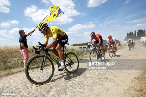 Greg Van Avermaet of Belgium and BMC Racing Team Yellow Leader Jersey /Vincenzo Nibali of Italy and Bahrain Merida Pro Team / John Degenkolb of...