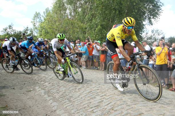 Greg Van Avermaet of Belgium and BMC Racing Team Yellow Leader Jersey /Edvald Boasson Hagen of Norway and Team Dimension Data / ont Thibault a...