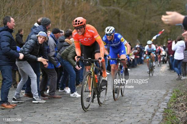 Greg Van Avermaet of Belgium and CCC Team / Zdenek Stybar of Czech Republic and Team Deceuninck Quick-Step / Bosberg / Cobblestones / Fans / Public /...