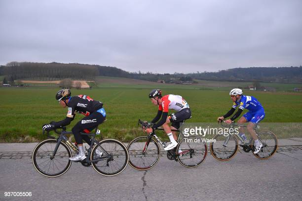 Greg Van Avermaet of Belgium and Team BMC Racing Team / Tiesj Benoot of Belgium and Team Lotto Soudal / Philippe Gilbert of Belgium and Team...
