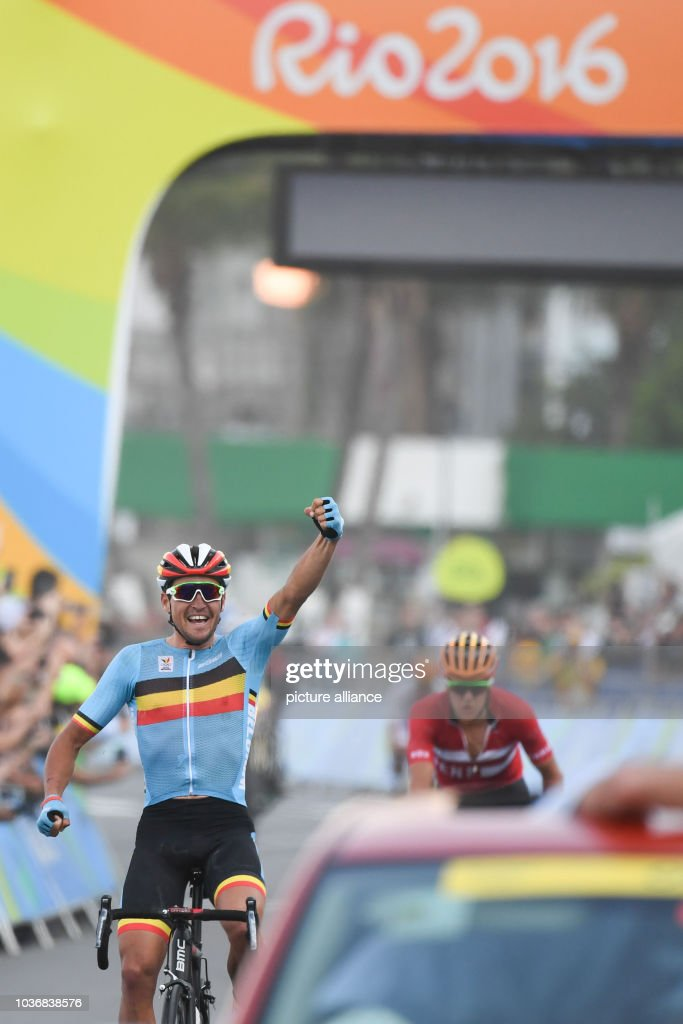 Greg van Avermaet of Belgium celebrates after winning the Gold Medal in the  Men s Road Race 46eb3adc7