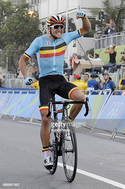 16b131dd4 Greg Van Avermaet of Belgium celebrates after winning the men s cycling  road race at the Summer