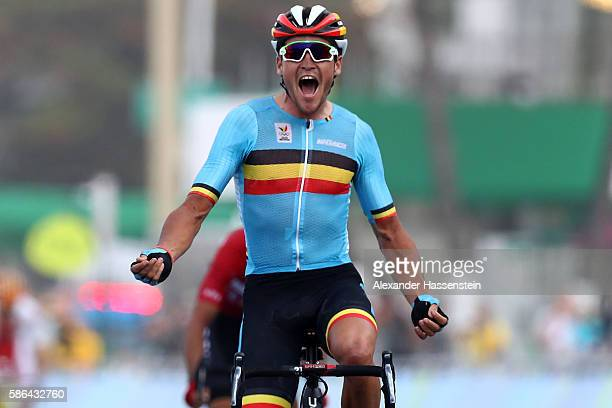 Greg van Avermaet of Belgium celebrates winning the gold medal after crossing the finishing line the Men's Road Race on Day 1 of the Rio 2016 Olympic...