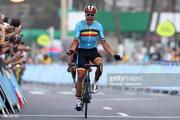 b790ae928 Greg van Avermaet of Belgium celebrates winning the gold medal after  crossing the finishing line the