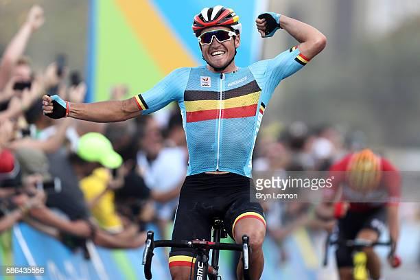 e16627bb3 Greg van Avermaet of Belgium celebrates winning the gold medal in the Men s  Road Race on
