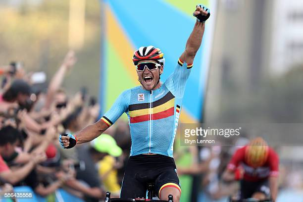 e16627bb3 Greg van Avermaet of Belgium celebrates winning the gold medal in the Men s  Road Race on