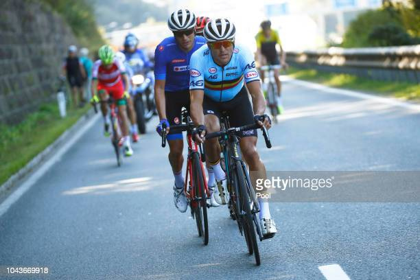 Greg Van Avermaet of Belgium / Damiano Caruso of Italy / Omar Fraile of Spain / during the Men Elite Road Race a 258,5km race from Kufstein to...