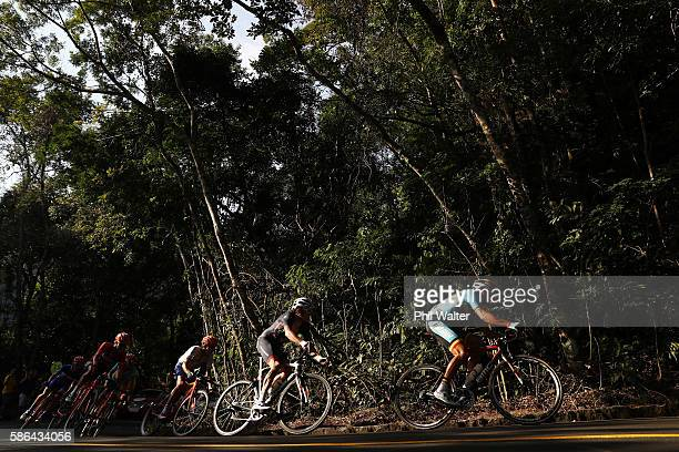 Greg van Avermaet of Belgium leads the petolon in the Men's Road Race on Day 1 of the Rio 2016 Olympic Games at the Fort Copacabana on August 6 2016...