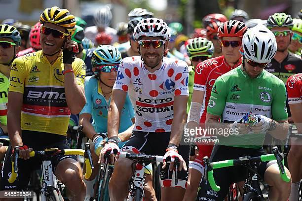 Greg Van Avermaet of Belgium riding for BMC Racing Team in the leader's jersey, Thomas De Gendt of Belgium riding for Lotto Soudal in the king of the...