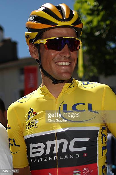 Greg Van Avermaet of Belgium riding for BMC Racing Team is seen in the yellow leader's jersey prior to stage six of the 2016 Le Tour de France a...