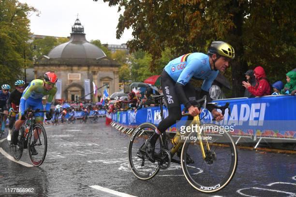 Greg Van Avermaet of Belgium / Tadej Pogacar of Slovenia / Harrogate City / Fans / Public / Peloton / Rain / during the 92nd UCI Road World...