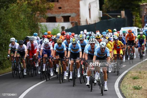 Greg Van Avermaet of Belgium / Wout Van Aert of Belgium / Jasper Stuyven of Belgium / Oliver Naesen of Belgium / Peloton / during the 93rd UCI Road...
