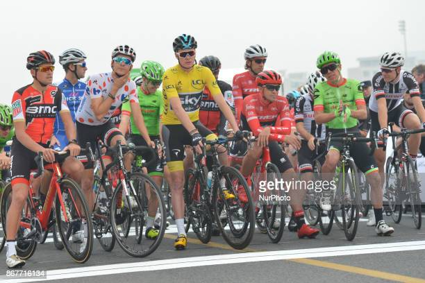 Greg VAN AVERMAET Warren BARGUIL Christopher FROOME Alberto CONTADOR and Rigoberto URAN at the start to the 1st TDF Shanghai Criterium 2017 On Sunday...