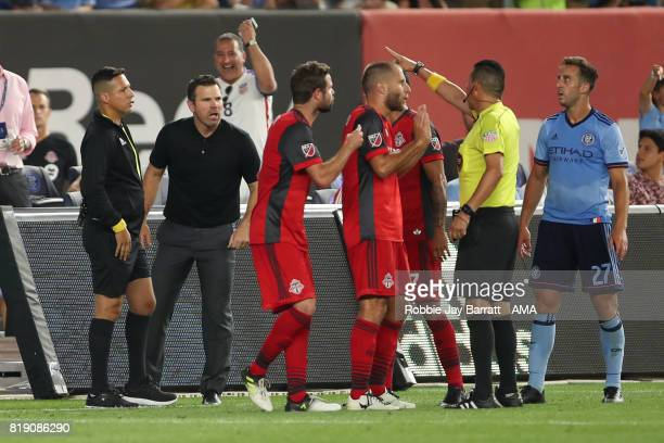 Greg Vanney head coach / manager of Toronto FC gets sent off during MLS fixture between Toronto FC and New York City FC at Yankee Stadium on July 19...