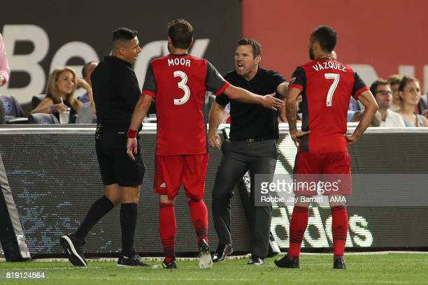 Greg Vanney head coach / manager of Toronto FC is send off during MLS fixture between Toronto FC and New York City FC at Yankee Stadium on July 19...