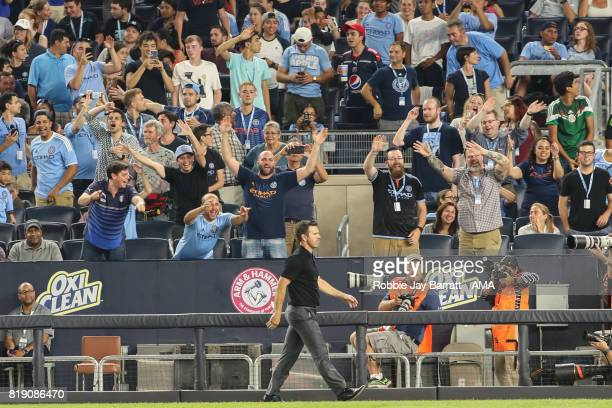 Greg Vanney head coach / manager of Toronto FC walks off the pitch after being sent off during MLS fixture between Toronto FC and New York City FC at...