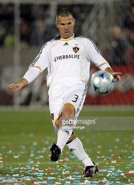 Greg Vanney of the Los Angeles Galaxy in action against the Colorado Rapids at Dick's Sporting Goods Park on March 29, 2008 in Commerce City,...