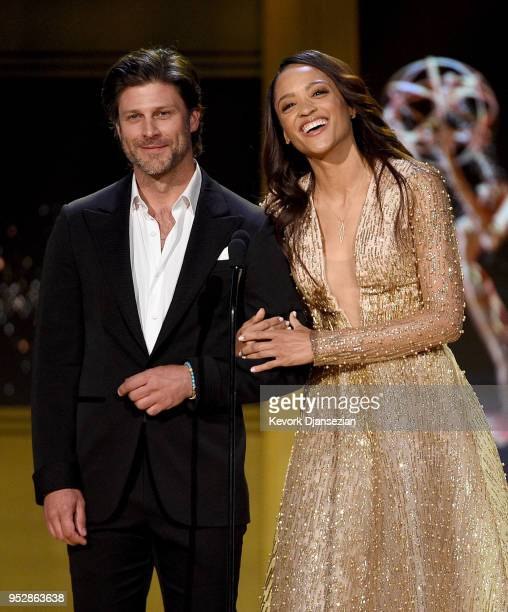 Greg Vaughan and Sal Stowers speak onstage during the 45th annual Daytime Emmy Awards at Pasadena Civic Auditorium on April 29 2018 in Pasadena...