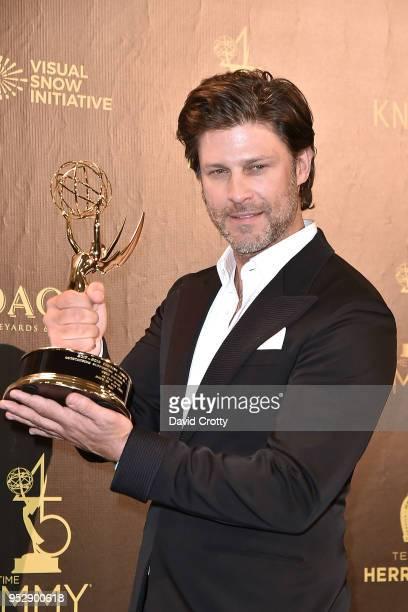 Greg Vaughan attends the 2018 Daytime Emmy Awards Press Room at Pasadena Civic Auditorium on April 29 2018 in Pasadena California