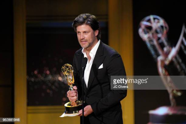 Greg Vaughan winner of Outstanding Supporting Actor in a Drama Series for 'Days of Our Lives' accepts award onstage during the 45th annual Daytime...