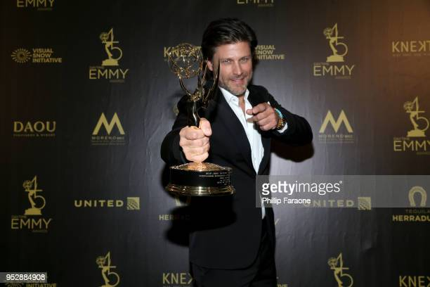 Greg Vaughan winner of Outstanding Supporting Actor in a Drama Series for 'Days of Our Lives' poses in the press room during the 45th annual Daytime...