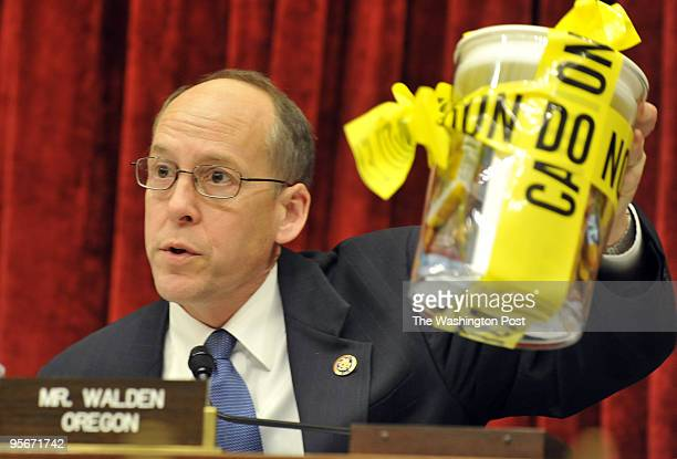 Greg Walden Congressman holds a sample of recall food products during the Energy and Commerce Oversight and Investigations Subcommittee hearing on...